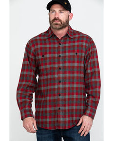 Wolverine Men's Red Legend Long Sleeve Flannel Long Sleeve Work Shirt , Dark Red, hi-res