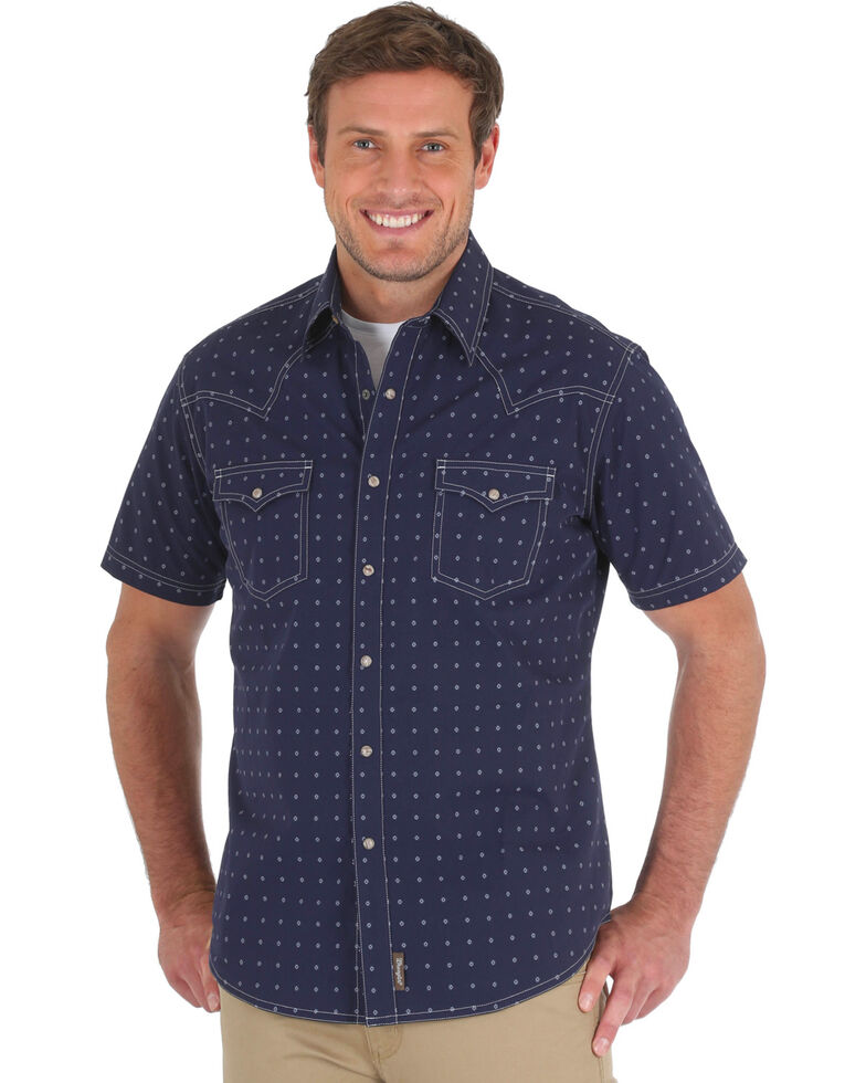 Wrangler Retro Men's Navy Premium Geo Print Short Sleeve Western Shirt, Navy, hi-res