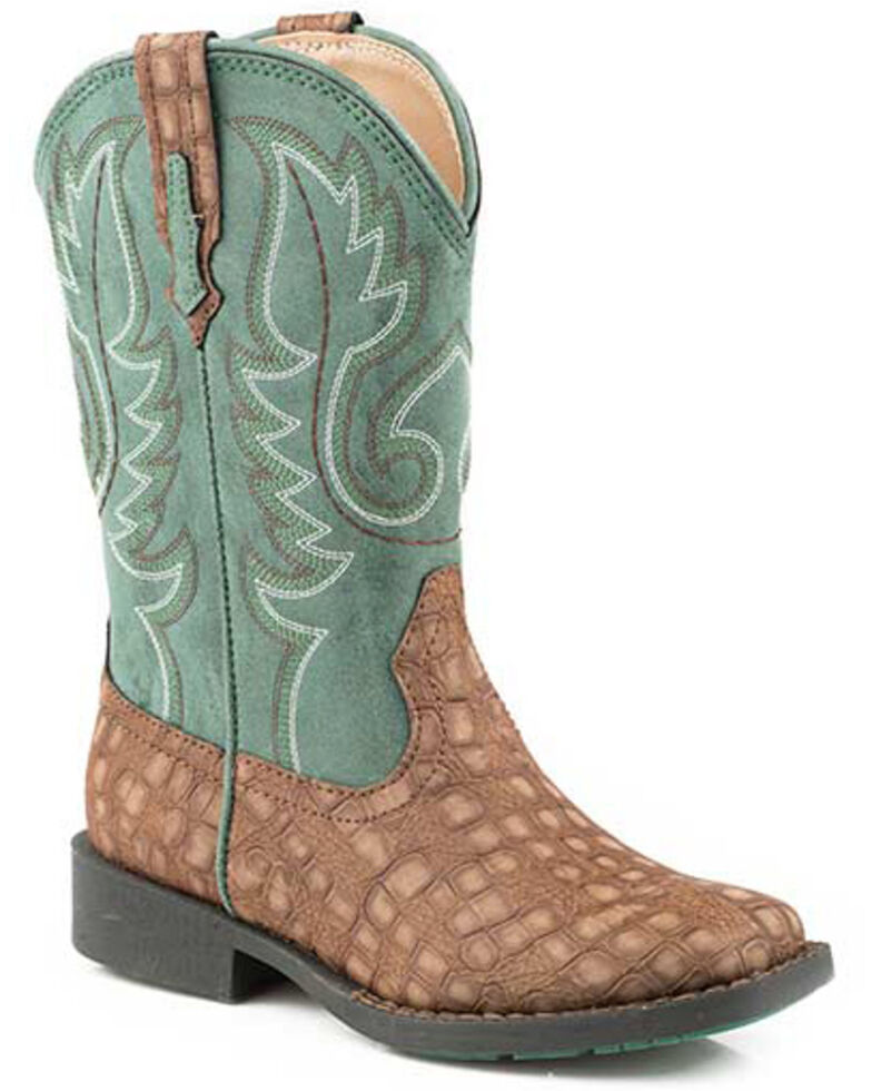 Roper Girls' Gator Western Boots - Square Toe, Brown, hi-res