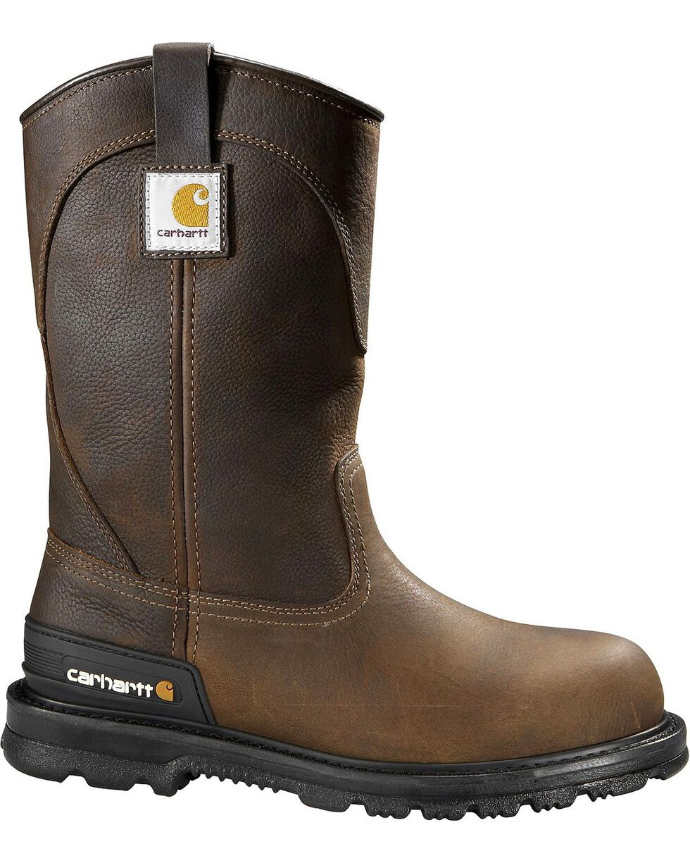 Carhartt Unlined Wellington Pull-On Work Boots - Steel Toe, Dark Brown, hi-res