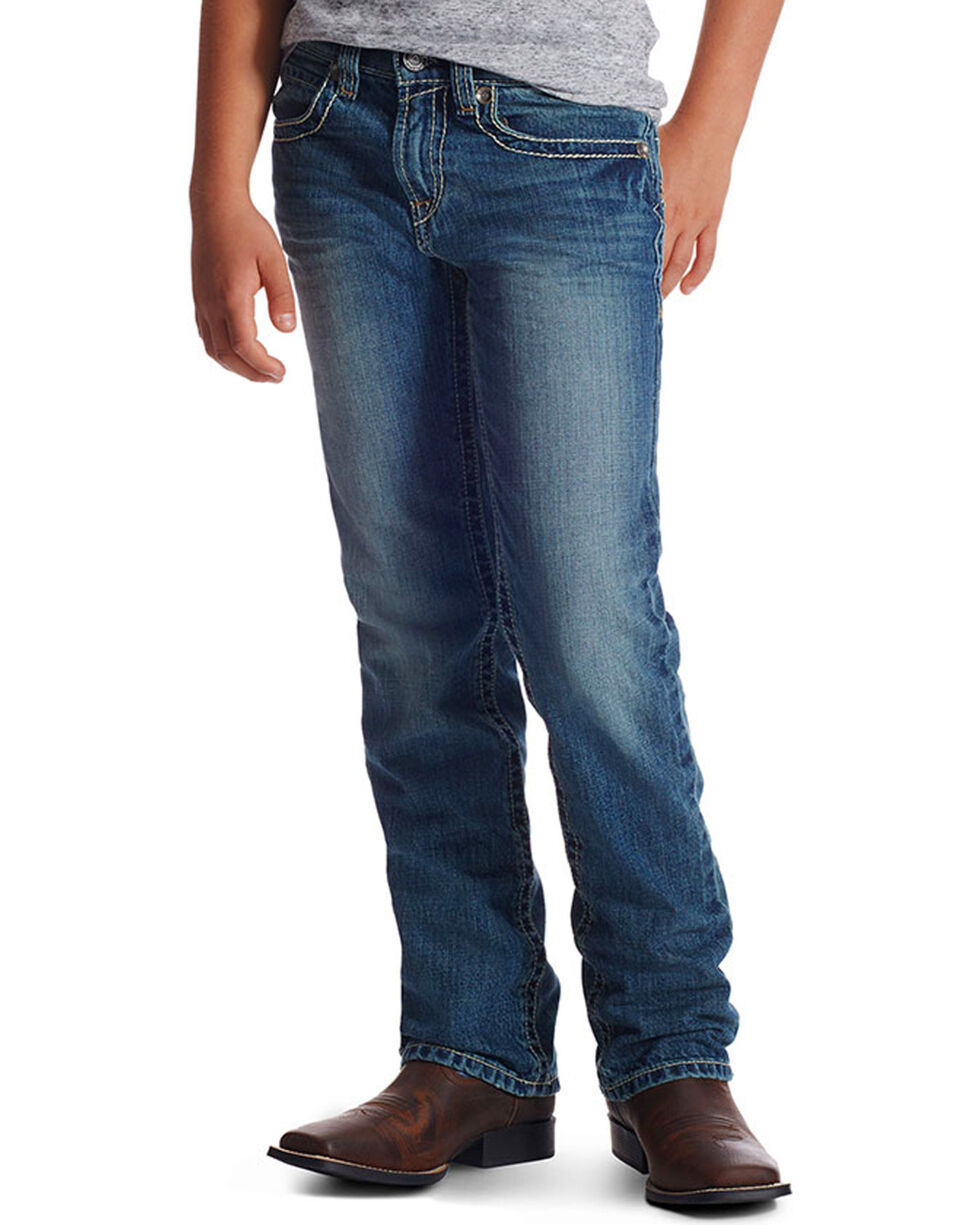 Ariat Boy's B4 Keen Relaxed Boot Cut Jeans, Blue, hi-res