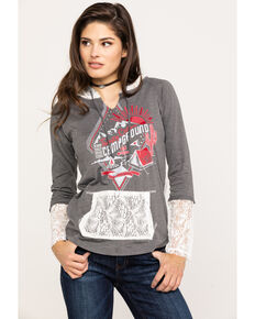 Panhandle Women's Campground Lace Hoodie, Grey, hi-res