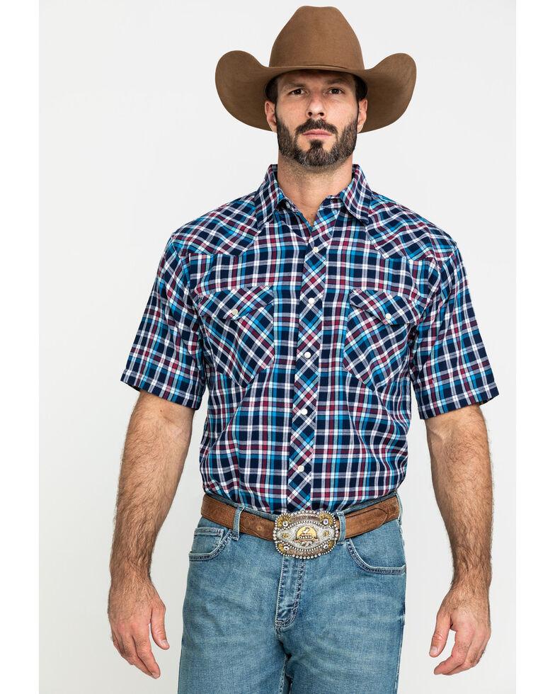 Resistol Men's Navy Big Bay Small Plaid Short Sleeve Western Shirt , Navy, hi-res