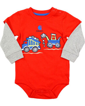 Carhartt Infant Boys' Construction Layered Onesie, Red, hi-res