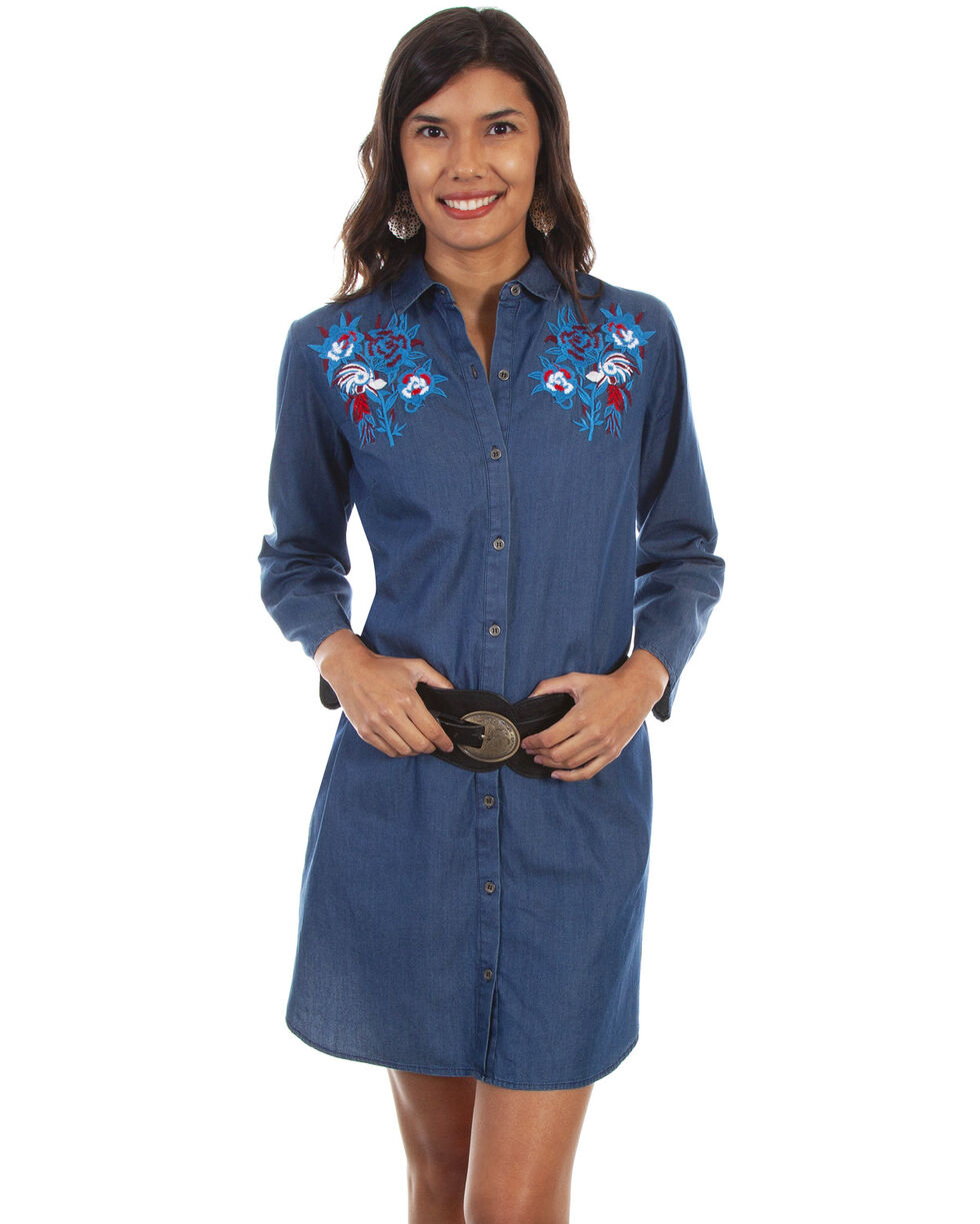 Honey Creek by Scully Women's Floral Denim Dress, Blue, hi-res