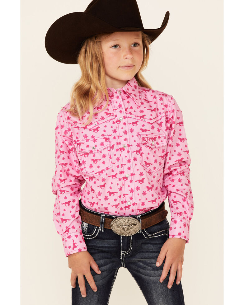 Cowgirl Hardware Girls' Pink Daisy Rider Print Long Sleeve Snap Western Shirt , Pink, hi-res