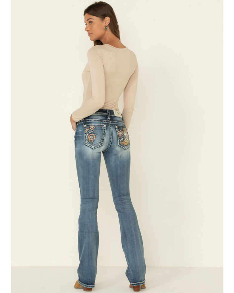"""Miss Me Women's Flower & Boot Embroidered 34"""" Bootcut Jeans , Blue, hi-res"""