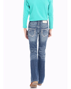 Rock & Roll Cowgirl Girls' Scattered Embroidery Medium Wash  Bootcut Jeans, Blue, hi-res