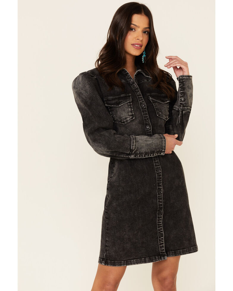 Billy T Women's Black Denim Puff Sleeve Shirt Dress, Black, hi-res