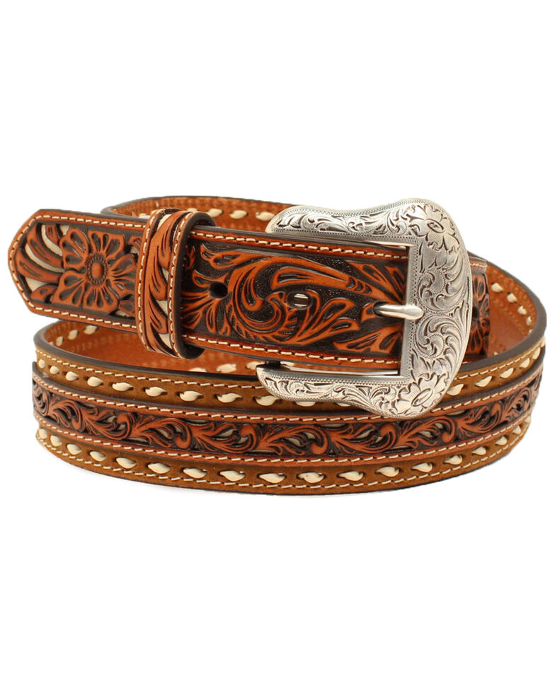 Nocona Men's Floral Buck Lacing Western Belt, Tan, hi-res