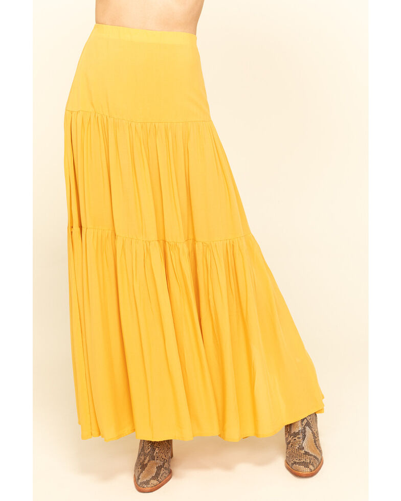 Rag Poets Women's Mustard Lacucciola Tiered Maxi Skirt, Dark Yellow, hi-res
