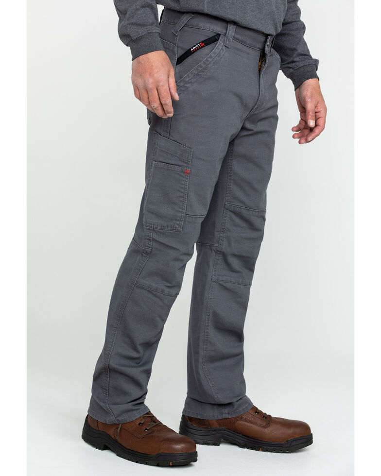 Ariat Men's Grey FR M5 Duralight Stretch Canvas Straight Work Pants , Grey, hi-res