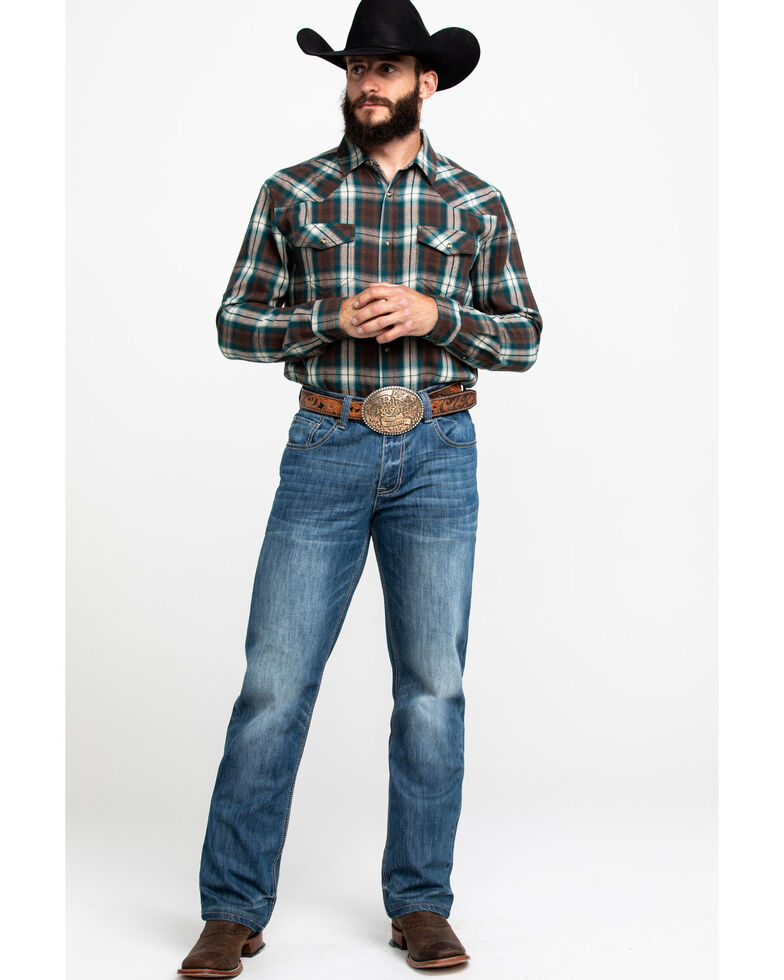 Cody James Men's Bronco Plaid Long Sleeve Western Flannel Shirt , , hi-res