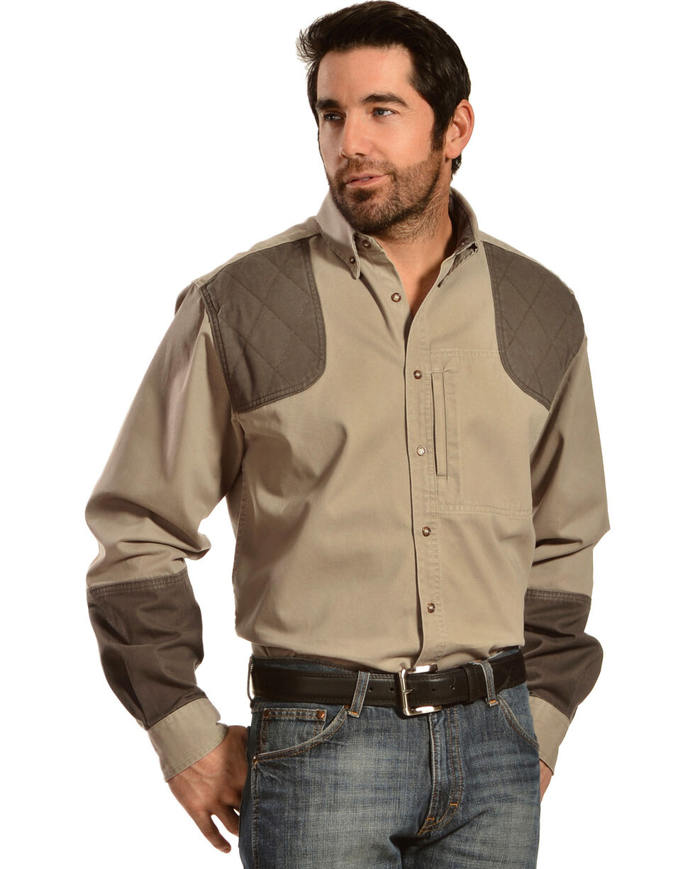 Gibson Trading Co. Men's Long Sleeve Shooting Shirt, Khaki, hi-res