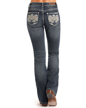 Rock & Roll Cowgirl Women's Zig Zag Leather & Rhinestone Mid Rise Jeans - Boot Cut, Indigo, hi-res