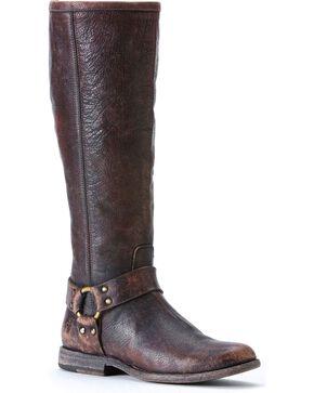 Frye Women's Philip Harness Tall Boots, Dark Brown, hi-res