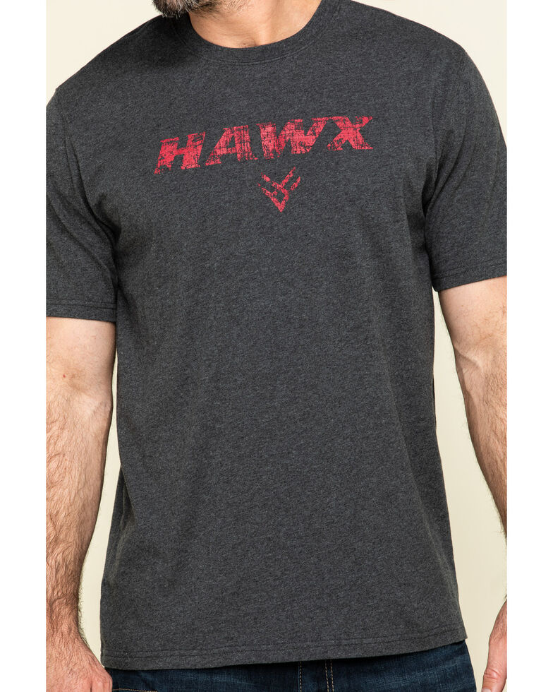 Hawx Men's Grey Back Logo Graphic Work T-Shirt , Charcoal, hi-res