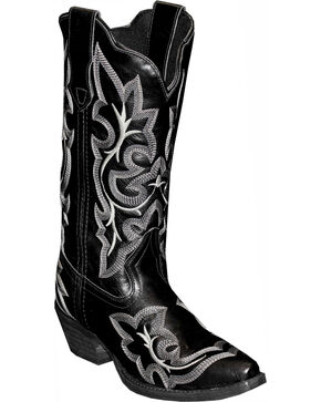 Rawhide by Abilene Fancy Stitch Embroidered Western Boots - Snip Toe, Black, hi-res