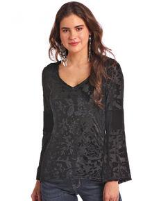 Panhandle Women's Velvet Floral Long Sleeve Top, Black, hi-res
