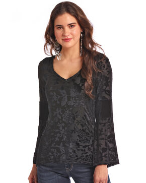 Panhandle White Label Women's Velvet Accent Bell Sleeve Top, Black, hi-res