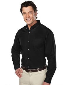 Tri-Mountain Men's Black XL Professional Twill Long Sleeve Shirt - Tall, Black, hi-res
