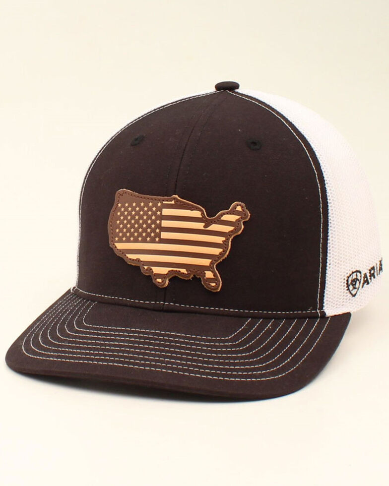 Ariat Men's Black USA Leather Patch Mesh Cap , Black, hi-res