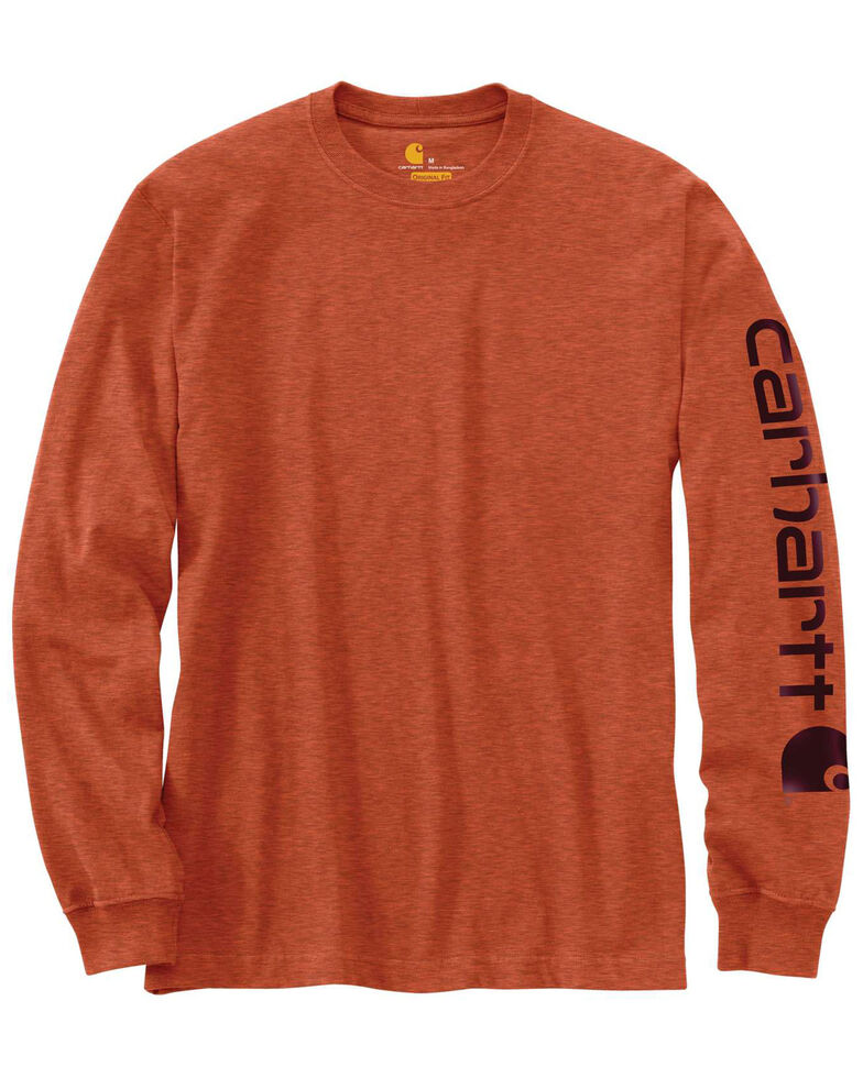 Carhartt Men's Signature Logo Sleeve Knit Work T-Shirt - Big & Tall, Rust, hi-res