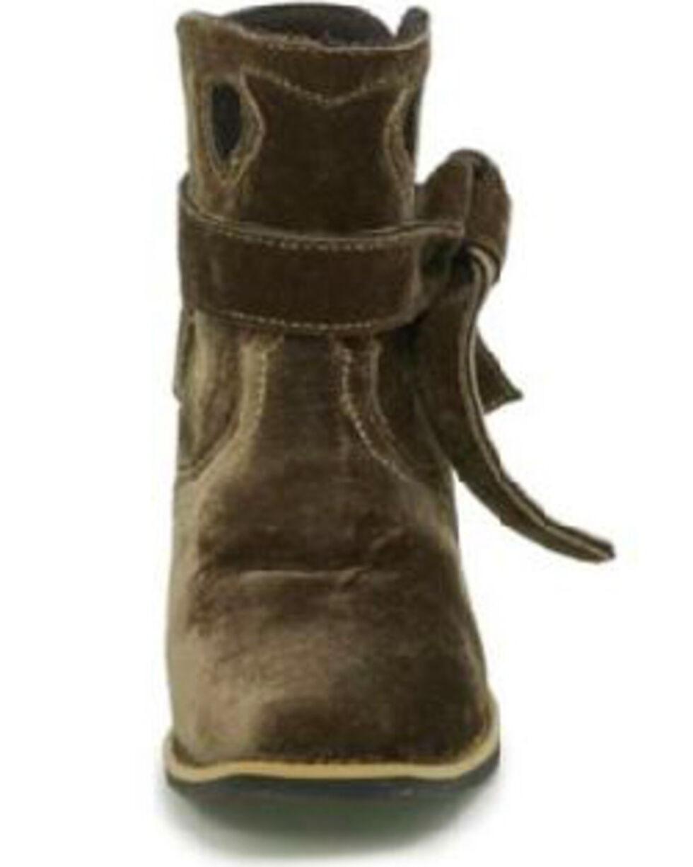 Justin Gypsy Women's Elana Brown Velvet Booties - Wide Square Toe, Brown, hi-res