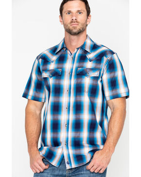 Cody James Men's Sunset Valley Ombre Plaid Short Sleeve Western Shirt - Big , Navy, hi-res