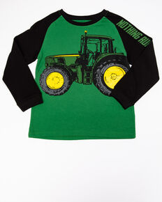 John Deere Boys' Nothing Runs Like A John Deere Graphic Long Sleeve Shirt , Green, hi-res