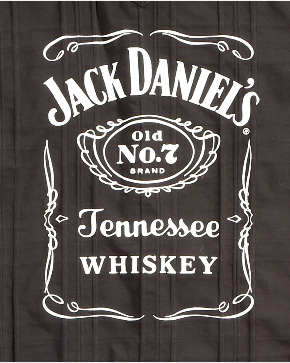 Jack Daniel's Men's Black Tonal Stripe Logo Western Shirt , Black, hi-res