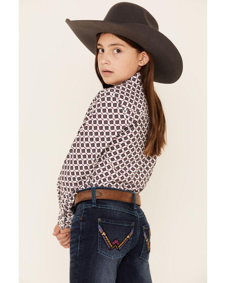 Wrangler Retro Girls' Brooke Dark Embroidered Bootcut Jeans, Blue, hi-res