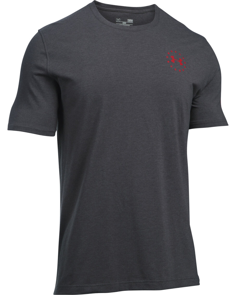 Under Armour Men's UA Freedom Flag Carbon Heather/Red Short Sleeve T-Shirt, Heather Grey, hi-res
