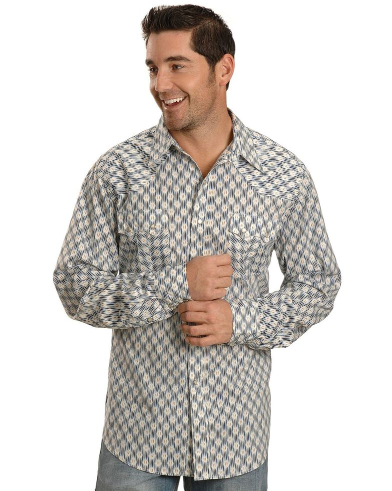 Tin Haul Men's Blue Ikat Print Long Sleeve Western Shirt, Blue, hi-res