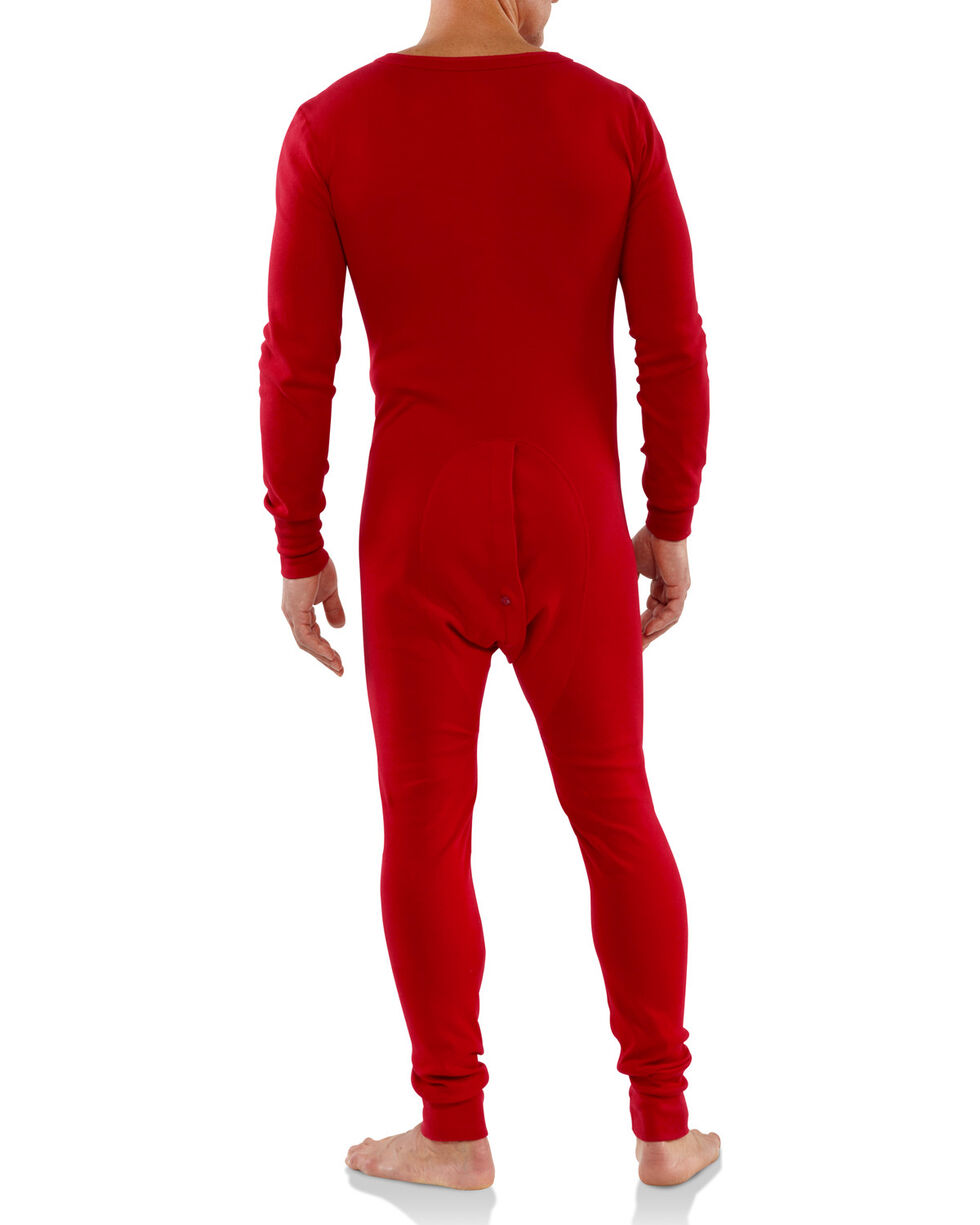 Carhartt Men's Red Midweight Cotton Union Suit - Tall , Red, hi-res