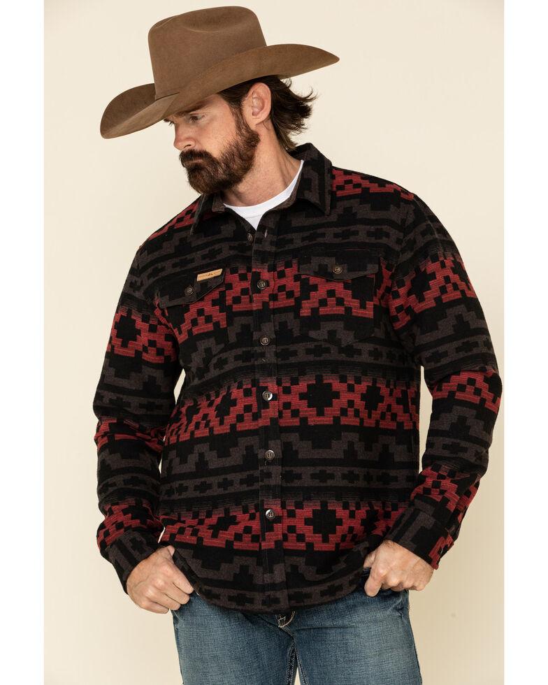 Powder River Outfitters Men's Brown Aztec Jacquard Shirt Jacket , Brown, hi-res