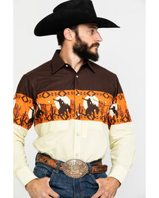 Panhandle Men's Scenic Aztec Border Print Snap Long Sleeve Western Shirt , Brown, hi-res