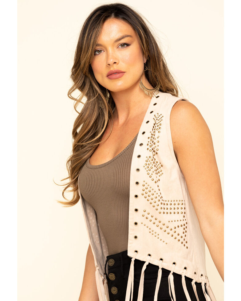 Fornia Women's Studded Fringe Vest, Stone, hi-res