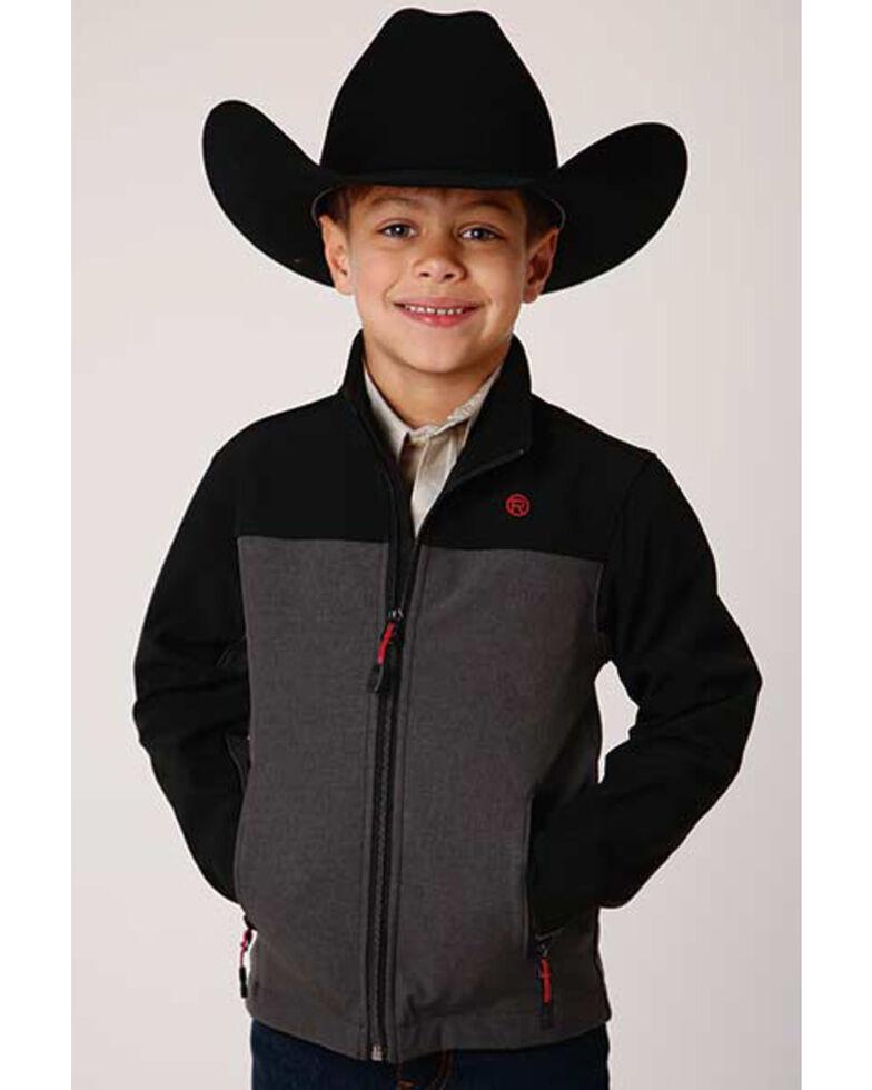 Roper Boys' Heather Grey Colorblock Hi Tech Fleece Zip-Front Softshell Jacket , Grey, hi-res