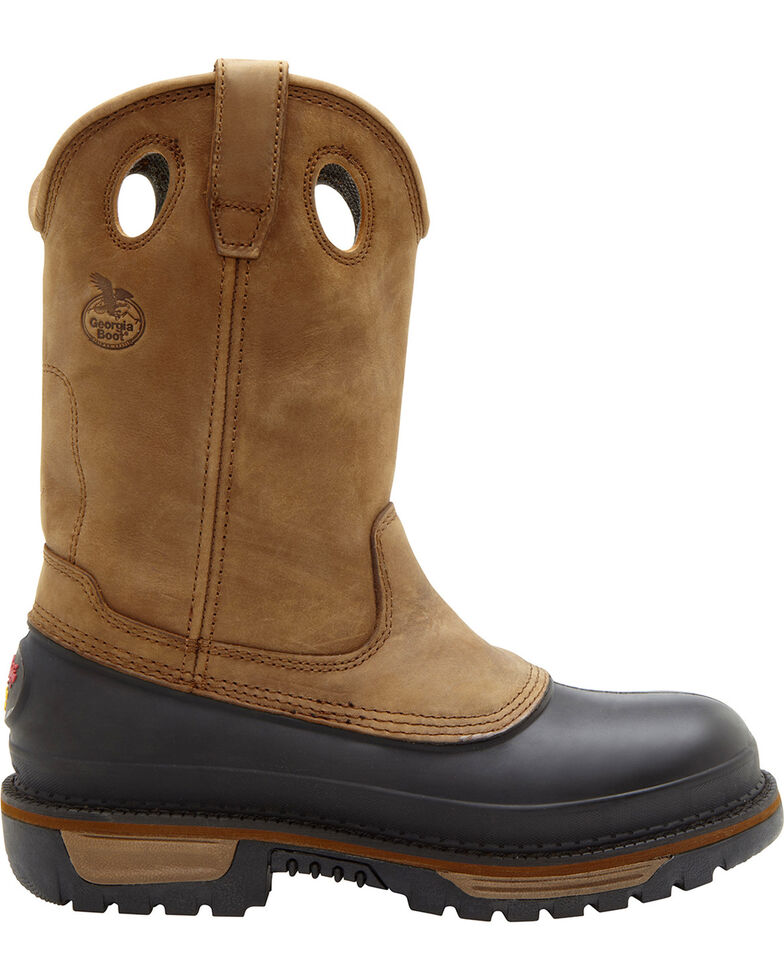 Georgia Men's Muddog Wellington CC Work Boots, Brown, hi-res