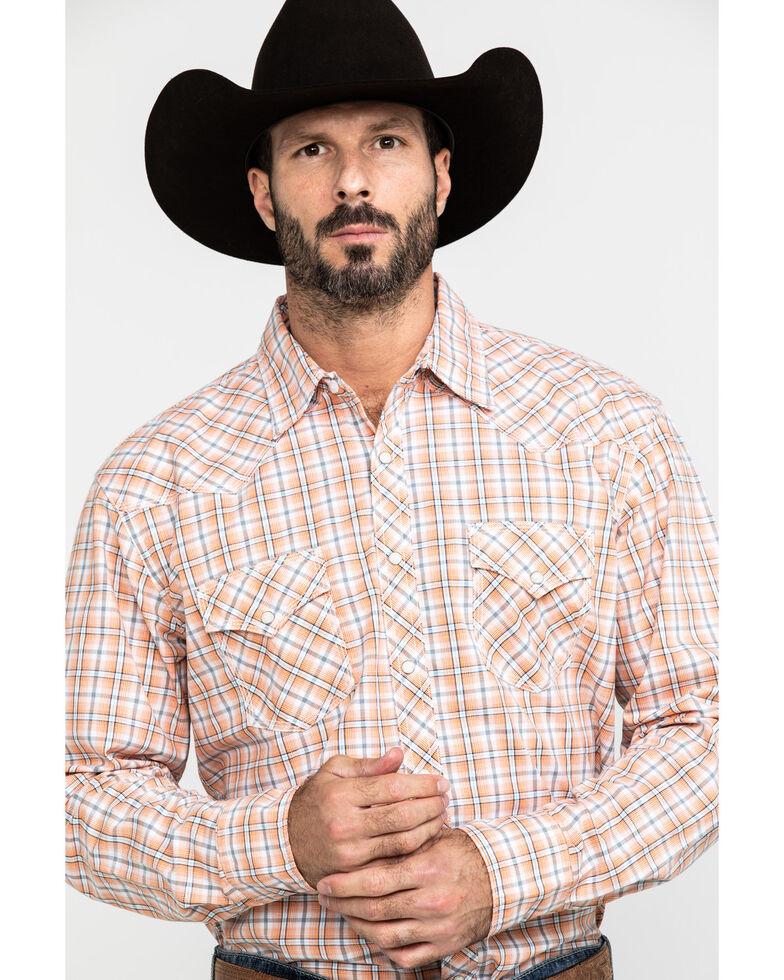 Wrangler 20X Men's Advanced Comfort Diamond Orange Plaid Long Sleeve Western Shirt  , Orange, hi-res