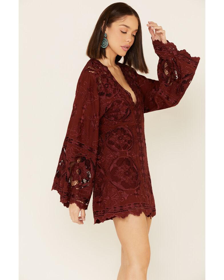 Free People Women's Northern Lights Mini Dress, Burgundy, hi-res