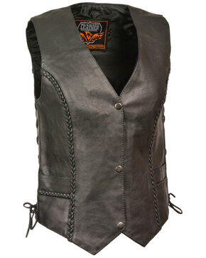Milwaukee Leather Women's Braided Side Lace Vest - 3X, Black, hi-res