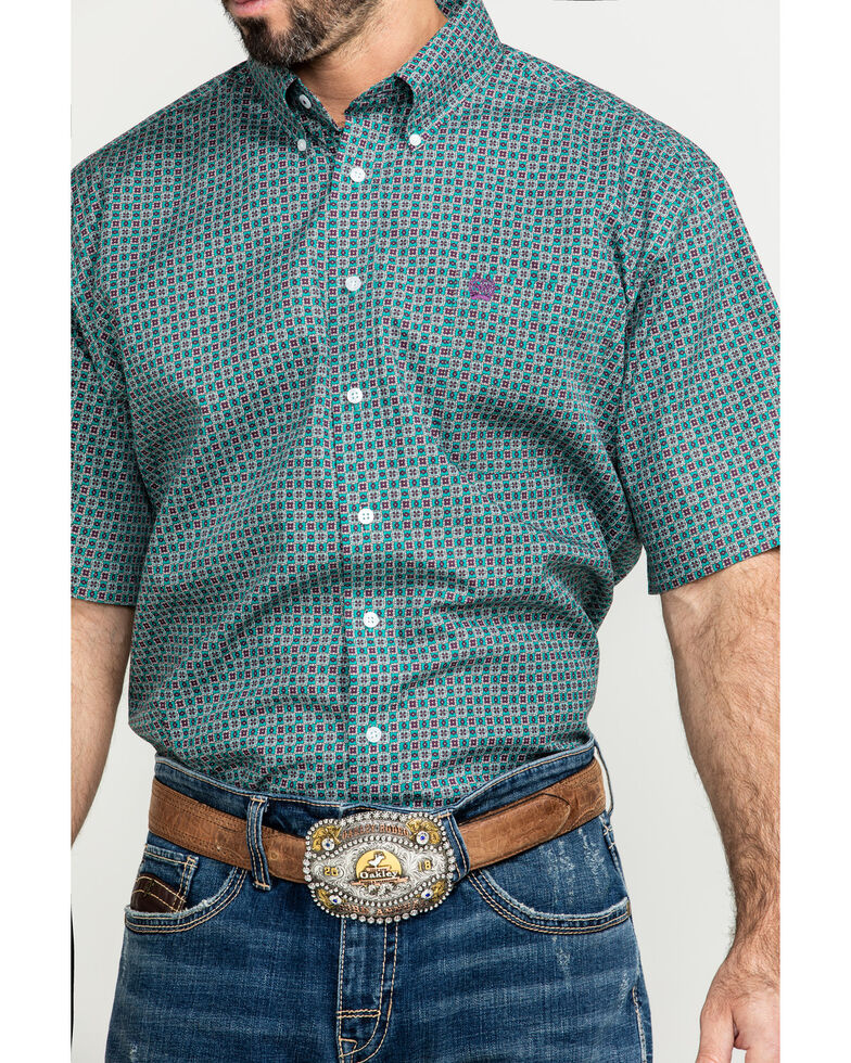Cinch Men's Green Small Geo Print Short Sleeve Western Shirt , Green, hi-res