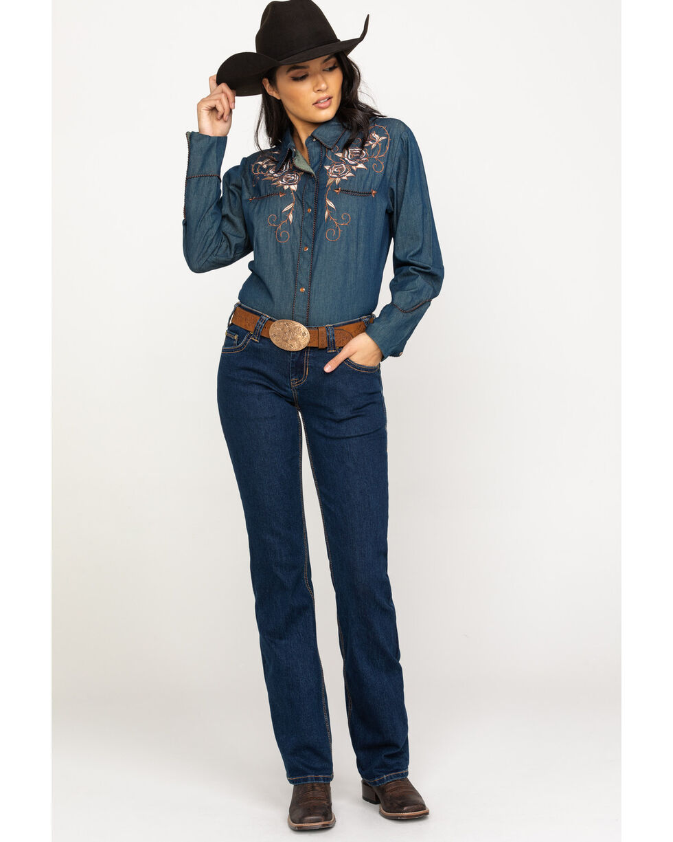 Scully Women's Rose Embroidered Denim Western Shirt, Blue, hi-res