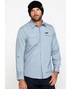 Wrangler All-Terrain Men's Bering Sea Solid Long Sleeve Western Shirt , Blue, hi-res