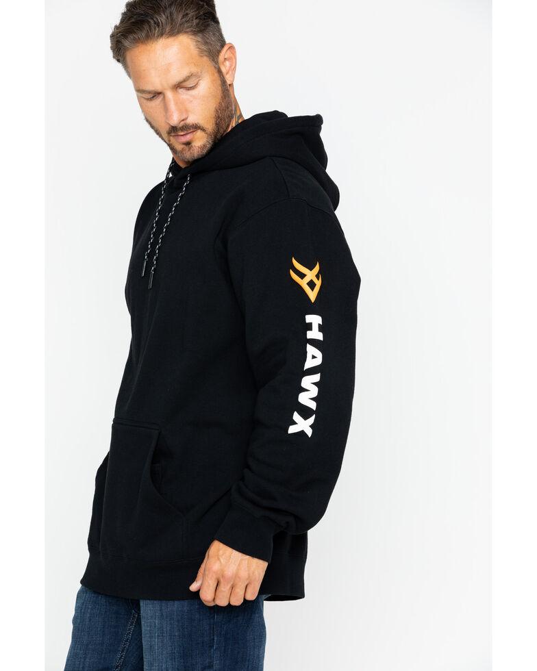 Hawx® Men's Logo Sleeve Hooded Work Sweatshirt , Black, hi-res