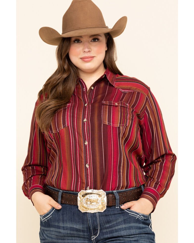 White Label by Panhandle Women's Serape Challis Long Sleeve Western Shirt - Plus, Multi, hi-res