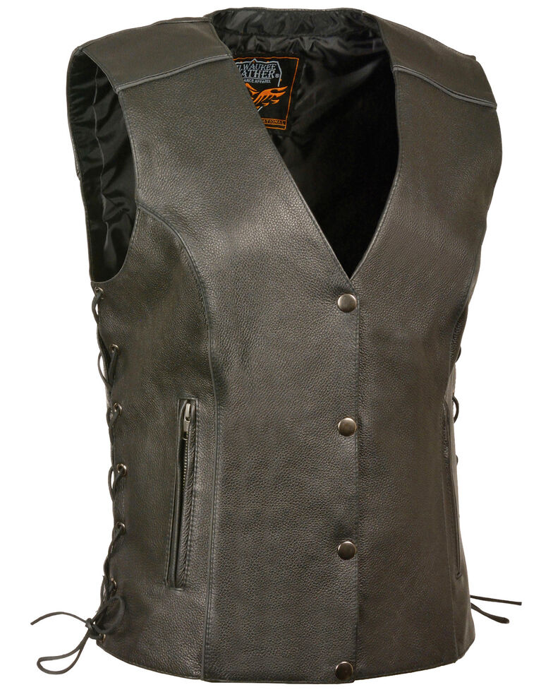 Milwaukee Leather Women's Black Side Lace Conceal Carry Vest - 3X, Black, hi-res