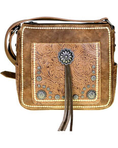 Montana West Womens Brown Concho Concealed Carry Crossbody Bag Hi Res